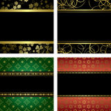 Set - vector black card with golden frames Royalty Free Stock Image