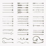 Set of Vector Black Hand Drawn Arrow Shaped Elements Royalty Free Stock Photography