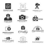 Set of 12 Vector Black Icon for Photographer. Camera Icon. For web design and application interface, also useful for infographics. Vector illustration Stock Photo