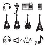 Set of vector black music icons Royalty Free Stock Photos