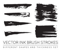 Set of Vector Black Pen Ink Brush Strokes. Grunge Ink Brush Stro Royalty Free Stock Photos