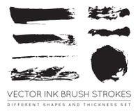 Set of Vector Black Pen Ink Brush Strokes. Grunge Ink Brush Stroke. Dirty Brush Stroke. vector illustration