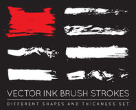 Set of Vector Black Pen Ink Brush Strokes. Grunge Ink Brush Stroke. Dirty Brush Stroke. stock illustration