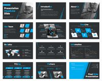 Set of vector black slides with blue design elements for business presentations. Template for reports, advertising, banners and flyers stock illustration