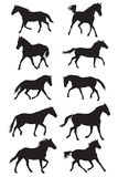 Set of vector black trotting horses silhouettes Royalty Free Stock Photos