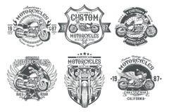 Set vector black vintage badges, emblems with a custom motorcycle