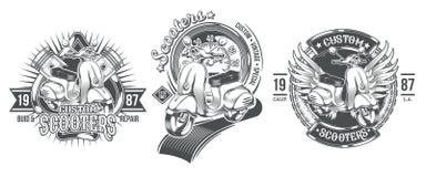 Set vector black vintage badges, emblems with a custom scooter Stock Images
