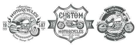 Free Set Vector Black Vintage Badges, Emblems With A Custom Motorcycle Royalty Free Stock Images - 94269419