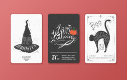 Set of vector black and white cards for Halloween. Stock Photography