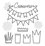 Set of vector black and white elements for party and Birthday Stock Images