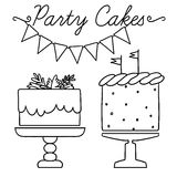Set of vector black and white elements for party and Birthday Royalty Free Stock Photography