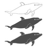 Set of vector black and white illustrations with a dolphin. Isolated objects. Royalty Free Stock Photography
