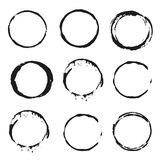 Set of vector black Wine stain circles Royalty Free Stock Images
