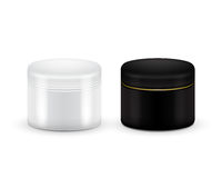 Set of vector Blank Cosmetic Container for Cream, Powder or Gel. Black and white color. Cosmetic container. Mock up. Royalty Free Stock Images