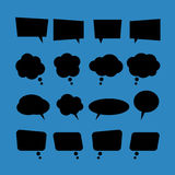 Set of vector blank flat speech bubbles in black style Royalty Free Stock Photography