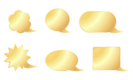 Set of vector blank golden bubbles of various shapes communication Royalty Free Stock Photography