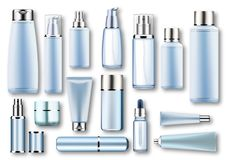 Set vector blank templates of empty blue silver plastic,glass realistic containers:bottles with spray,dispenser and. Dropper,cream jar,tube.3d mock-up of Royalty Free Stock Images