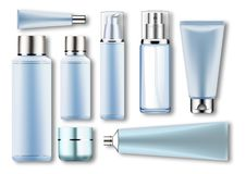 Set vector blank templates of empty blue silver plastic,glass realistic containers:bottles with spray,dispenser and. Dropper,cream jar,tube.3d mock-up of Royalty Free Stock Photo