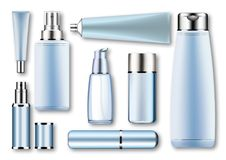 Set vector blank templates of empty blue silver plastic,glass realistic containers:bottles with spray,dispenser and. Dropper,cream jar,tube.3d mock-up of Stock Photos