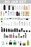 Set vector blank templates of empty and clean multicolor plastic and glass containers. Bottles with spray, dispenser and dropper, cream jar, tube. Realistic 3d stock illustration