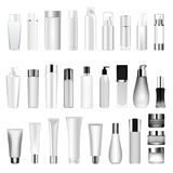 Set vector blank templates of empty and clean white plastic containers bottles with spray, dispenser and dropper, cream. Jar, tube. Realistic 3d mock-up of Royalty Free Stock Photography