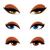Set of vector blue, brown and green eyes. Female eyes expressing. Different emotions, face features of seducing women Royalty Free Stock Photo
