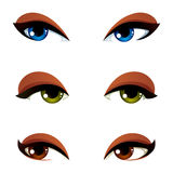 Set of vector blue, brown and green eyes. Female eyes expressing. Different emotions, face features of seducing women Stock Images