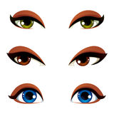 Set of vector blue, brown and green eyes. Female eyes expressing. Different emotions, face features of seducing women Stock Photo