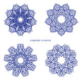 Set from Vector Blue Indian Curl Ornament. Stock Image
