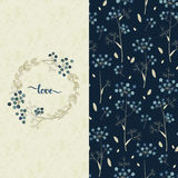 Set with vector blue pattern with pretty flowers and a card with hand drawn word love Stock Photography
