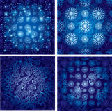 Set of Vector blue seamless Christmas background Stock Photo