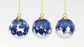Set of vector blue and white christmas balls with ornaments. glossy collection isolated realistic decorations. Vector illustration vector illustration