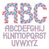 Set of vector bold capital alphabet letters isolated created wit. H abstract curvy lines vector illustration