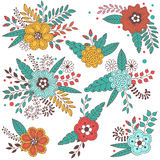 Set of vector bouquet of flowers, berries, flower buds, leaves Stock Photo