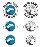 Set of vector bowling labels and badges. Royalty Free Stock Images