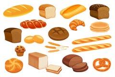 Set vector bread icons. Royalty Free Stock Photos
