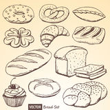 Set of vector bread and rolls Royalty Free Stock Photos