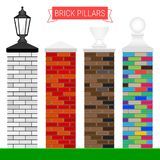 Set of Vector Brick Pillars in Different Colors with Tops. In Different Shapes and the Black Lamp. Design Elements for a Fence vector illustration