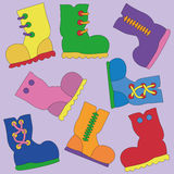 Set of Vector Bright Gumboots Stock Image
