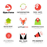 Set of vector bright modern logos. Royalty Free Stock Images