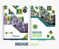 Set of Vector brochure cover templates with blured city landscape and lines. Stock Photos