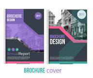 Set of Vector brochure cover templates with blured city landscape and lines.  Royalty Free Stock Images
