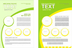 Set of vector brochure with the spring theme, with a predominance of green and light green colors Royalty Free Stock Images
