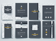 Set of vector brochures with doodles backgrounds Royalty Free Stock Photo
