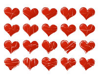 Set of vector broken hearts shape classic. Fall out of Love abst Stock Photos