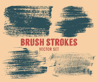 Set of vector brush strokes. Colour is editable. Royalty Free Stock Photography