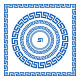 Set of vector brushes to create Greek Meander patterns and samples of their application for round and square frames. Greek borders Stock Images