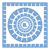 Set of vector brushes to create Greek Meander patterns and samples of their application for round and square frames. Greek borders Royalty Free Stock Photos