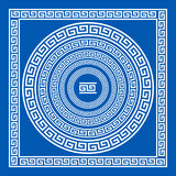Set of vector brushes to create Greek Meander patterns and samples of their application for round and square frames. Greek borders. Blue color  on white Stock Photo