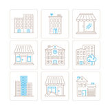 Set of vector building icons and concepts in mono thin line style.  Royalty Free Stock Image